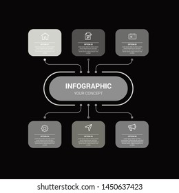 Business infographic template with circular shape. Can be used for workflow layout, diagram, number options, 6 options or steps, web design. illustration, EPS10