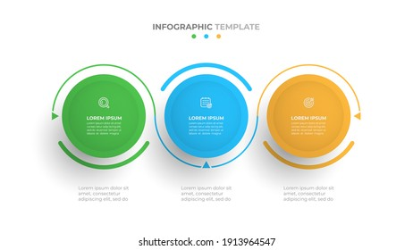 Business infographic template. Creative design with circles and marketing icons. Timeline process with 3 options, steps. Vector illustration.