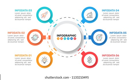 Business infographic template design with  circle and icons process step with 6 options. Can be used for workflow diagram, presentation or web design. Vector illustration.