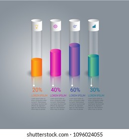 Business infographic template design and illustration test tube concept design with coloful growth. vector design element illustration.