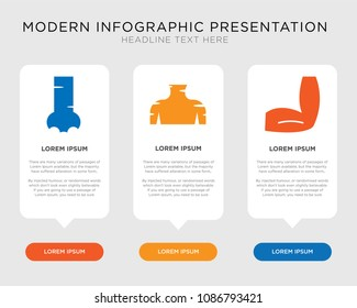 Business infographic template design with Men Elbow, Human Neck, Human Nostril icons, editable presentation, pixel perfect icon collection