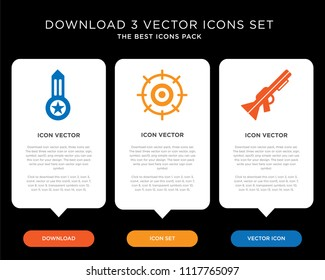 Business infographic template design with Rifle, Aim, Medal icons, editable icon set
