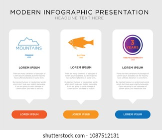 Business infographic template design with three years warranty, catfish, pinnacle icons, editable presentation, pixel perfect icon set
