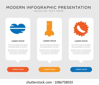 Business infographic template design with White blood cell, Human Nostril, Big Lips icons, editable presentation, pixel perfect icon collection