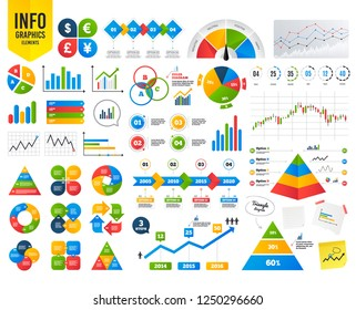 Business infographic template. Dollar, Euro, Pound and Yen currency icons. USD, EUR, GBP and JPY money sign symbols. Financial chart. Time counter. Vector