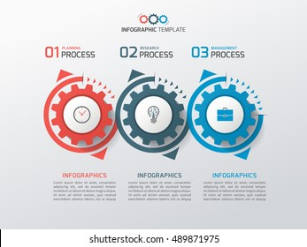 Business infographic template with gears cogwheels 3 steps, processes, parts, options. Vector illustration.