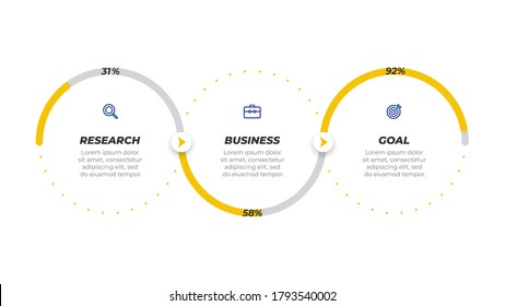 Business infographic template label design with icons. Timeline with 3 options or steps. Can be used for workflow diagram, info chart, presentation, annual report.