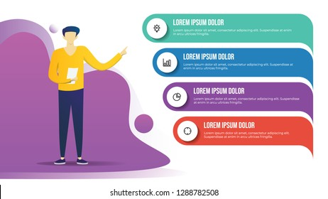 business infographic template with man standing and presenting 4 point, list, options, steps. business presentation template for workflow, outline, timeline, brochure, banner, etc.