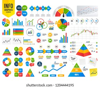 Business infographic template. Money in Euro icons. 100, 20, 30 and 50 EUR symbols. Money signs Financial chart. Time counter. Infographic template vector