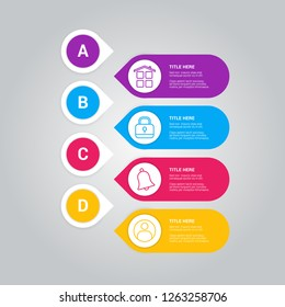 Business infographic template with pointers and icons vector. Icons for 4 options, steps, vertical list items, illustration, letters A, B, C, D, EPS10