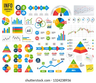 Business infographic template. Sale speech bubble icon. Black friday gift box symbol. Big sale shopping bag. Discount percent sign. Financial chart. Time counter. Vector