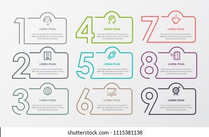 Business Infographic template. Thin line design with numbers 9 options.