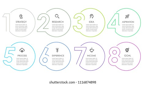Business Infographic template. Thin line design with numbers 8 options or steps.