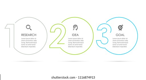 Business Infographic template. Thin line design with numbers 3 options or steps.