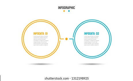 Business infographic template. Thin line design with 2 options, steps, circle and process. Vector illustration. Can be used for workflow diagram, chart, plan, report or presentation.