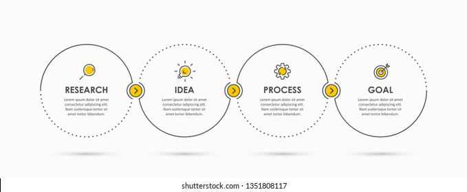 Business Infographic template. Thin line design with icons and 4 options or steps
