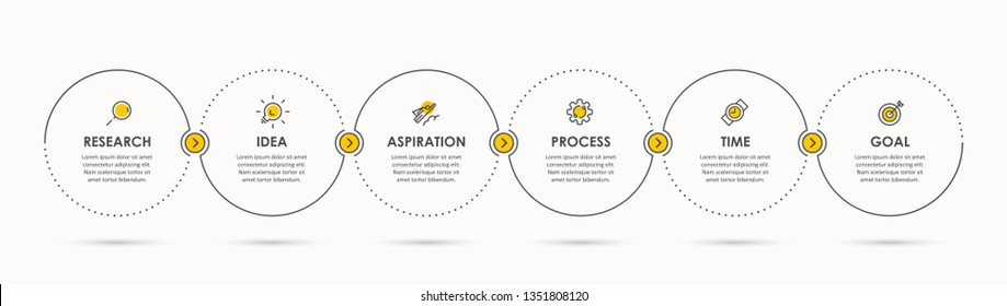 Business Infographic template. Thin line design with icons and 6 options or steps