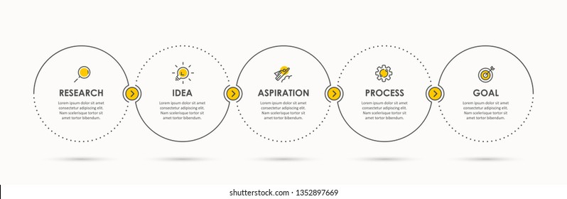 Business Infographic template. Thin line design with icons and 5 options or steps