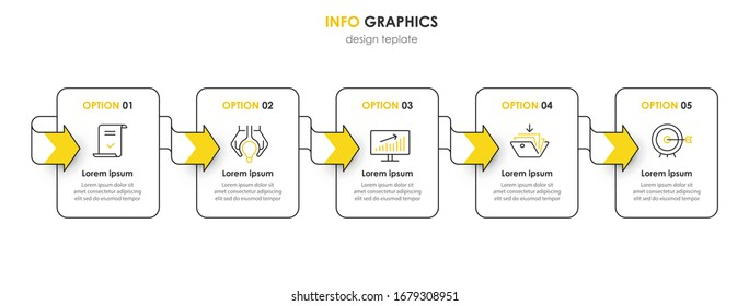 Business Infographic template. Thin line design with numbers. 5 options or steps.