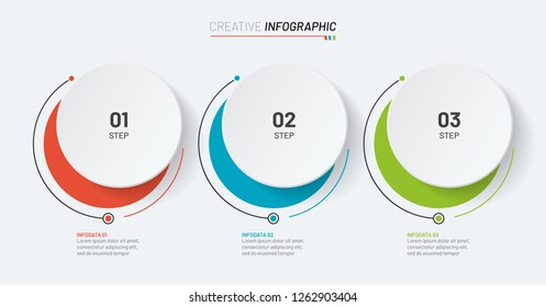 Business infographic template. Timeline with 3 number options, steps or processes. Can be used for workflow layout, diagram, chart, graph, web design. Vector illustration.