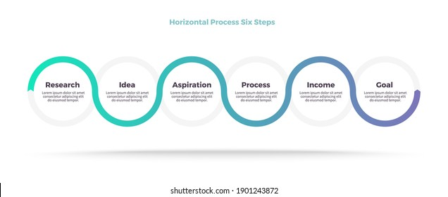 Business infographic template. Timeline chart with 6 steps, circles, options. Vector chart.