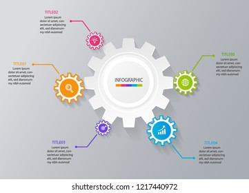 business infographic template for title presentation, workflow, layout, diagram, annual report or web in gears icon concept. Vector illustration