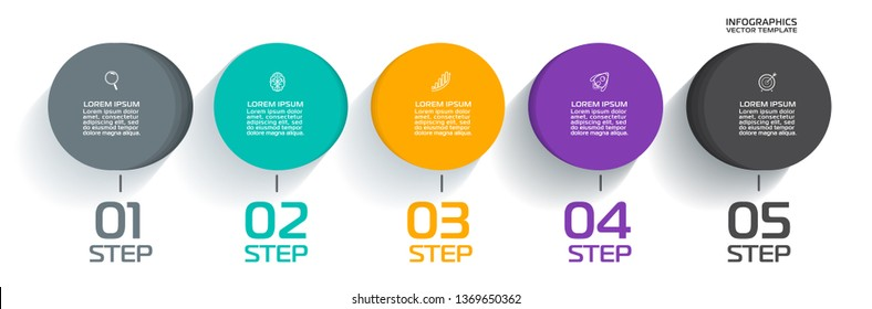 Business Infographic template. Vector design with icons and 5 options or steps.