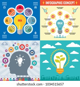 Business infographic templates concept vector illustration. Abstract banner set. Advertising promotion layout collection for presentation. Idea inspiration. Human head. Lamp lightbulb. Graphic design