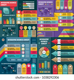 Business infographic templates concept vector illustration. Abstract banner set. Advertising promotion layout collection for presentation. Numbered step options. Graphic design elements.