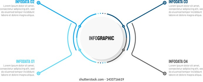 Business infographic thin line cycle process with 4 options, steps, points. Vector template. Can be used for workflow layout, diagram, info chart, presentations.