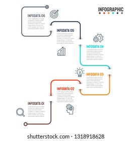Business infographic thin line design with icons and 6 options, steps. Template for workflow diagram, timeline history concept, graph, info chart or presentations. Vector illustration.