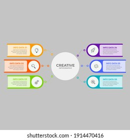 Business Infographic Thin line design with numbers 6 options or steps