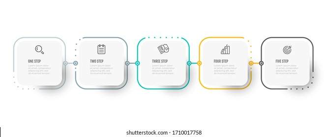 Business infographic thin line process with square template design with icons and 5 options or steps. Vector illustration.