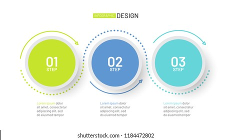 Business infographic. Timeline with 3 steps or options, circles. Can be used for workflow layout, diagram, report, web design and presentation.Vector linear element.