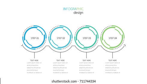 Business infographic. Timeline with 4 options, steps, circles. Vector illustration.