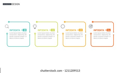 Business infographic. Timeline with 4 steps, box and marketing icons. Thin line flat design. Vector illustration.