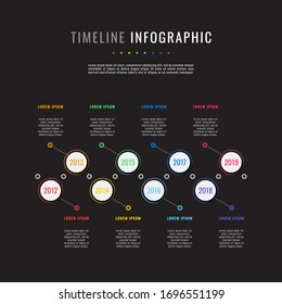 business infographic timeline template with white round realistic elements on a black background. modern vector data visualisation with textboxes. easy to edit and customize. eps10
