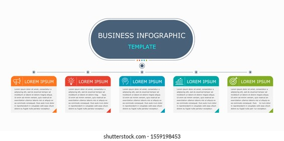 Business infographic Vector with 5 steps. Used for presentation,information,education,connection,marketing, project,strategy,technology,learn,brainstorm,creative,growth,abstract,stairs,idea,text,work.