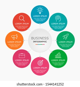 Business infographic Vector with 8 steps. Used for presentation,information,education,connection,marketing, project,strategy,technology,learn,brainstorm,creative,growth,abstract,stairs,idea,text,work.