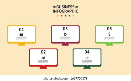 Business infographic in vector. Text and symbols. Computer infographic vector.