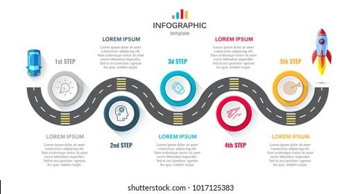 Business infographics 5 steps timeline concept.