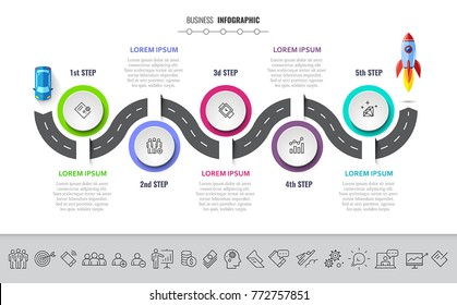 Business infographics 5 steps timeline concept. Creative flat style winding road with icon set. All elements are layered. Vector illustration.