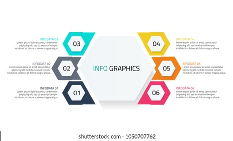 Business infographics. Abstract elements for chart, report, diagram.Timeline with 6 steps, processes, number options, cycle, hexagon.Vector design template for presentation.