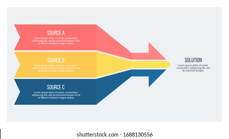 Business infographics. Arrow with 3 steps, sections, options. Vector chart.