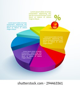 Business infographics bright circle segments in the form of cake with a cherry on a piece