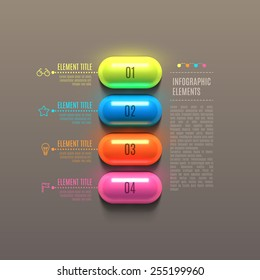 Business Infographics capsule concept. 3d vector illustration. Can be used for web design and workflow layout