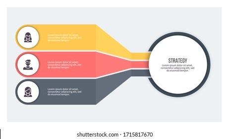 Business infographics. Chart with 3 steps, options, sections. Vector diagram.