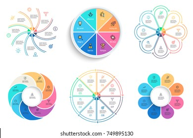 Business infographics. Charts, diagrams with 8 steps, options. Vector templates.