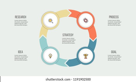 Business infographics. Circle chart with 4 steps, options. Vector presentation.