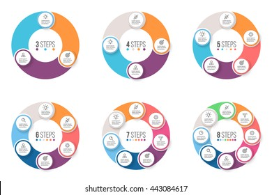 Business infographics. Circular charts, diagrams with 3, 4, 5, 6, 7, 8 steps. Vector templates.